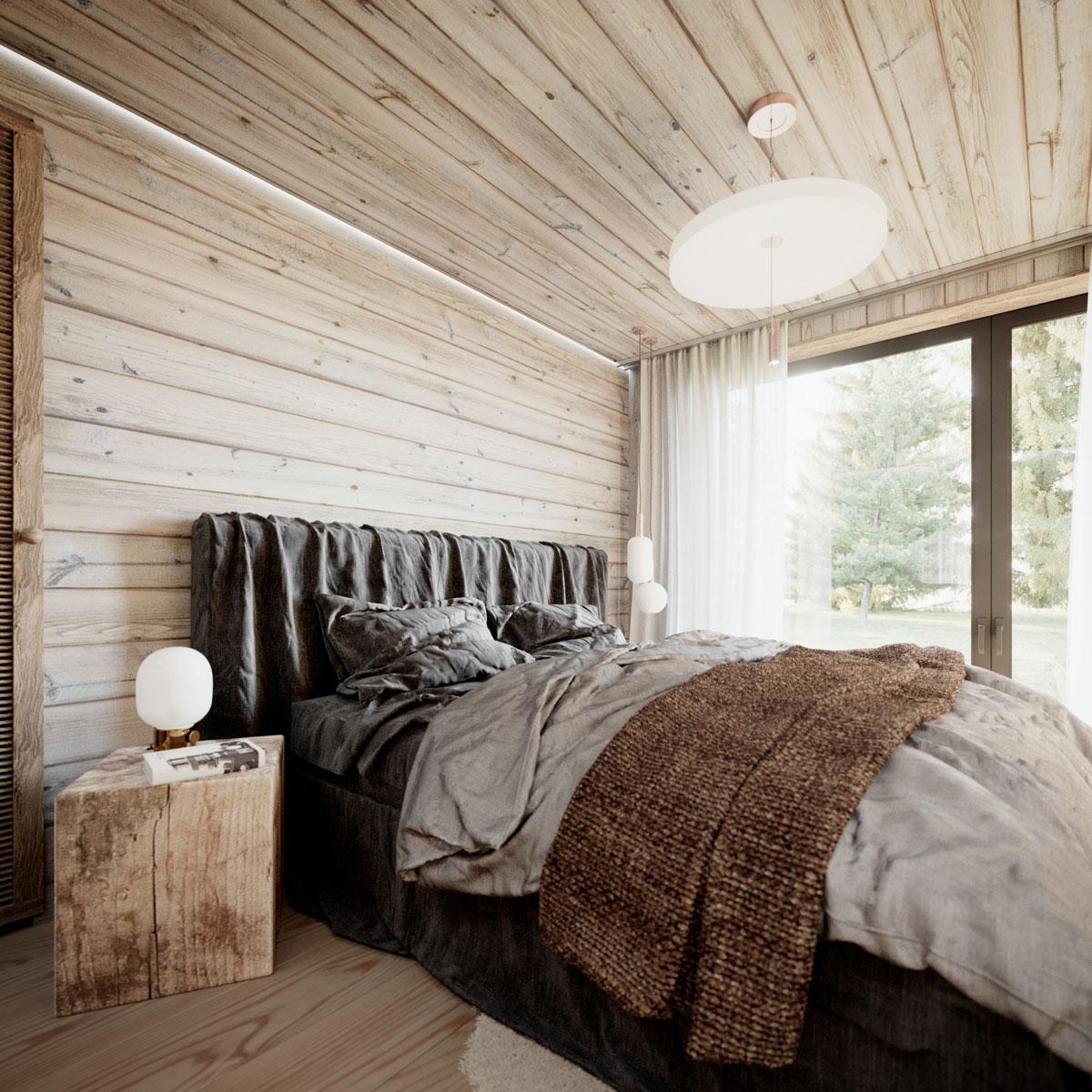 Spálňa s dreveným obkladom steny a stropu